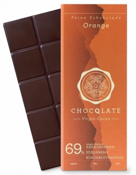 CHOCQLATE VIRGIN CACAO 69% Orange VEGAN BIO