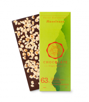 CHOCQLATE VIRGIN CACAO 63% Haselnuss  VEGAN + BIO + plastikfrei