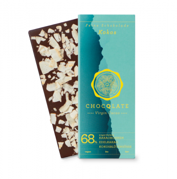 CHOCQLATE VIRGIN CACAO 68% Kokos VEGAN  BIO
