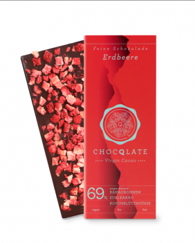 CHOCQLATE VIRGIN CACAO 69%  Erdbeere VEGAN BIO FAIR