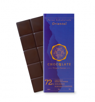 CHOCQLATE VIRGIN CACAO 72% Oriental VEGAN  BIO